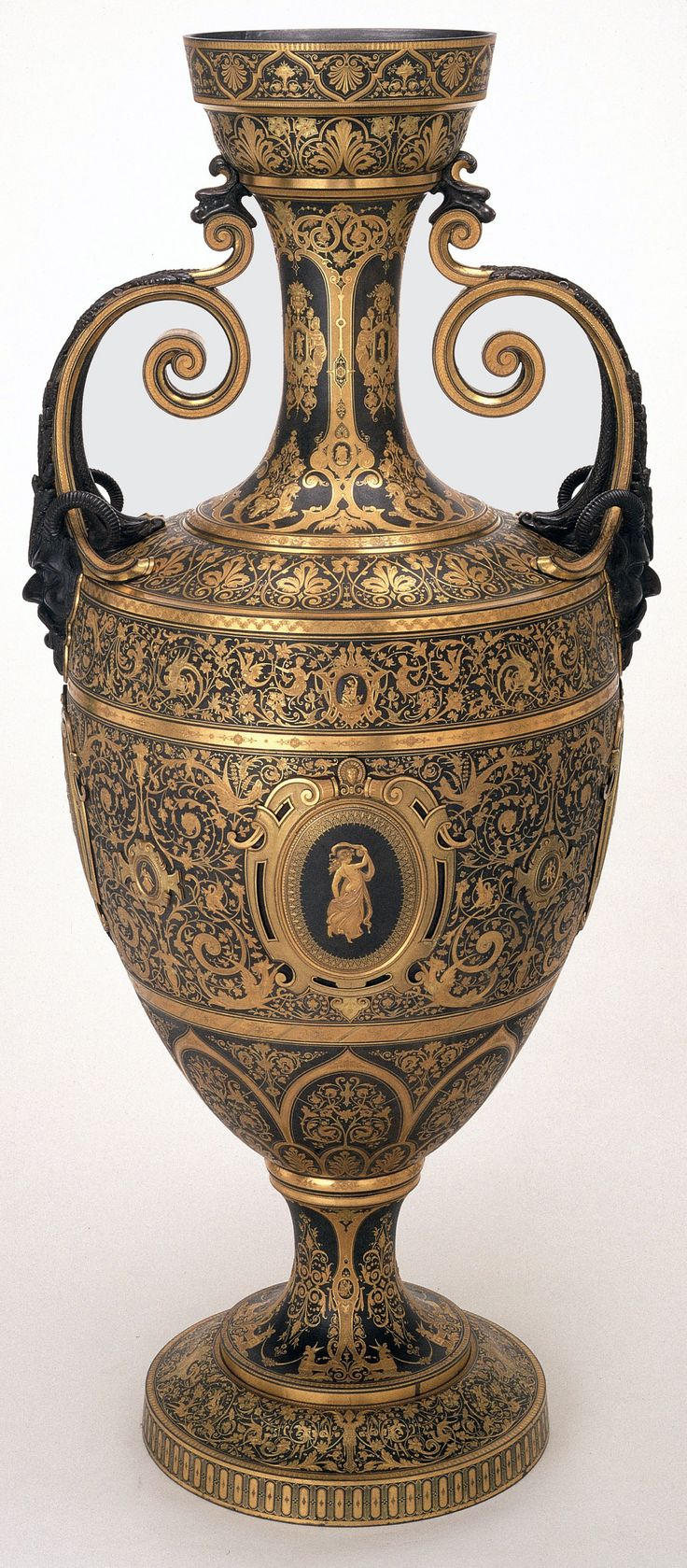 Khalili Collections | Spanish Damascened Metalwork | Handled Urn