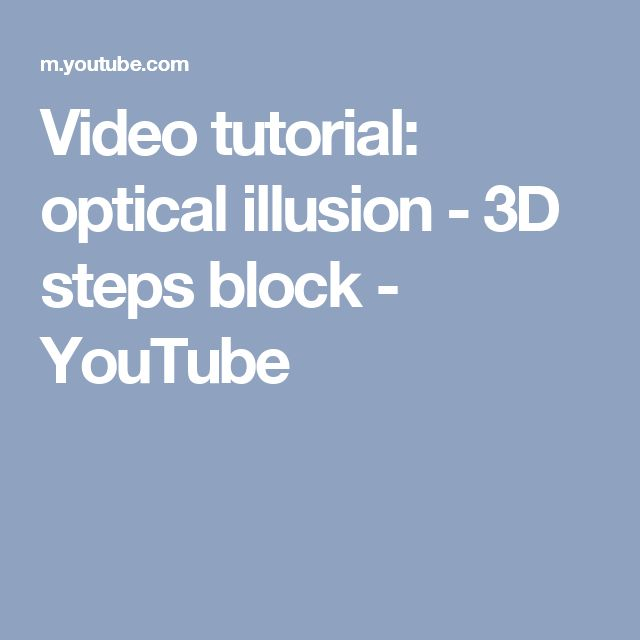 Video tutorial: optical illusion - 3D steps block - YouTube