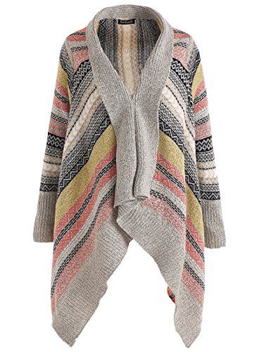 So'each Women's Aztec Stripes Tribal Geometric Tassels Cardigan Knit Sweater Beige   Special Offer: $19.96      200 Reviews -Stylish jumper, featuring waterfall front, long dolman sleeves, tasseled hem, soft touch acrylic fabric, nice stitching.;-Design with Aztec Stripes Tribal...