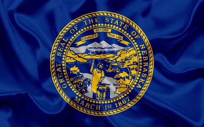 壁紙をダウンロードする ネブラスカ州フラグ, フラグ状態, 旗国のネブラスカ州, 米国, ネブラスカ州, 青色の絹の旗を, ネブラスカ州紋