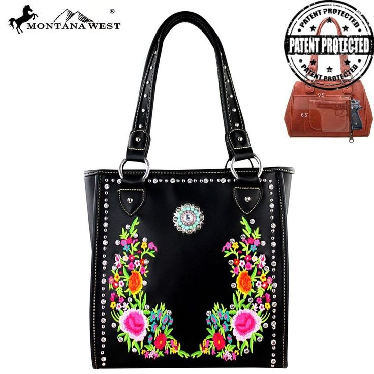 MW295G-9112 Montana West Embroidered Concealed Carry Handbag
