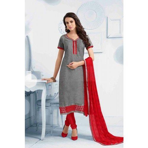 GREY COTTON CHURIDAR SUIT Price - CS0457 #IndianDressesOnline #ChuridarSuitUK #FashionUK #OnlineDresses #ShopkundUK