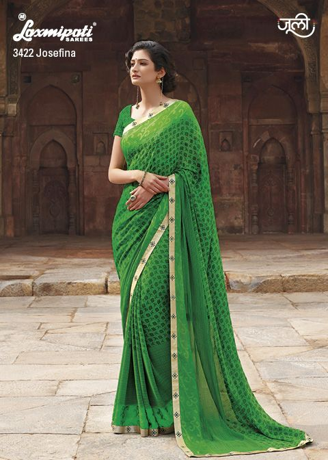 An alluring print on a beautiful green building georgette saree with crape jacquard patty will surely dazzle your eyes.
