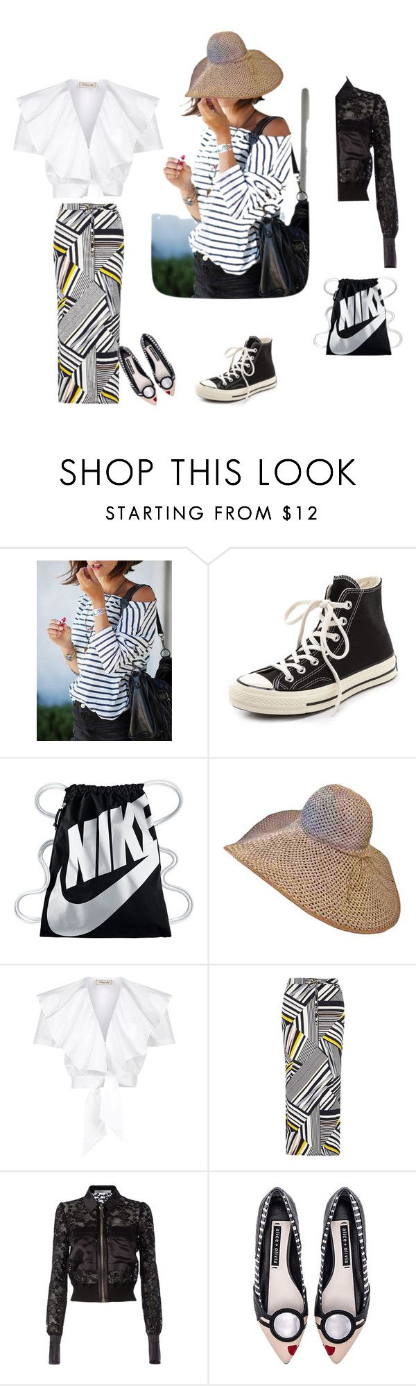 """""""siyah-beyaz,şık"""" by ayse-sedetmen ❤ liked on Polyvore featuring Converse, NIKE, Temperley London, Dorothy Perkins, Givenchy and Alice + Olivia"""