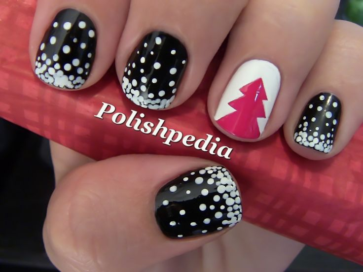 Snow & Christmas Tree Nail Art Tutorial! // Try this with red nails, dark gray base/light gray tree nail. #christmasnails