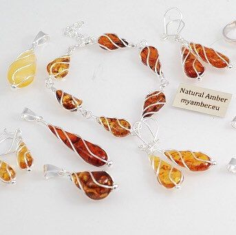 Baltic Amber jewelry, silver sterling 925.   Amber with Certificate - myamber.eu