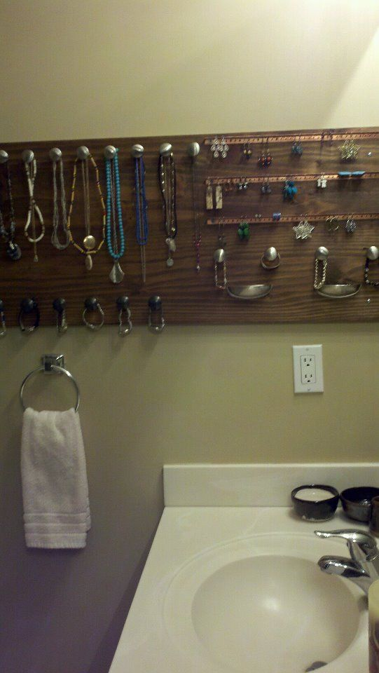 DIY- homemade jewelry holder, Pinterest inspired!!! I wear more Jewelry now:) made by Katie Wind