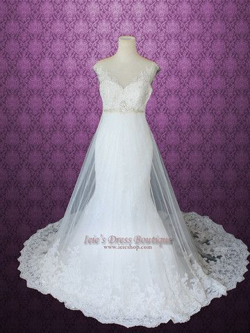 Mermaid Fit and Flare A-line Lace Wedding Dress   Ieie's Bridal Dress Boutique