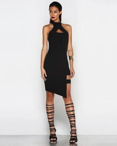 BLACK HALTER BACKLESS BANDAGE DRESS