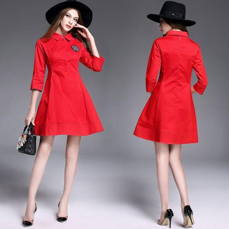 Fashion Slim Diamond Dresses women spring autumn bottom dress female seven-point sleeve Red Dresses lady Solid color Dress X701