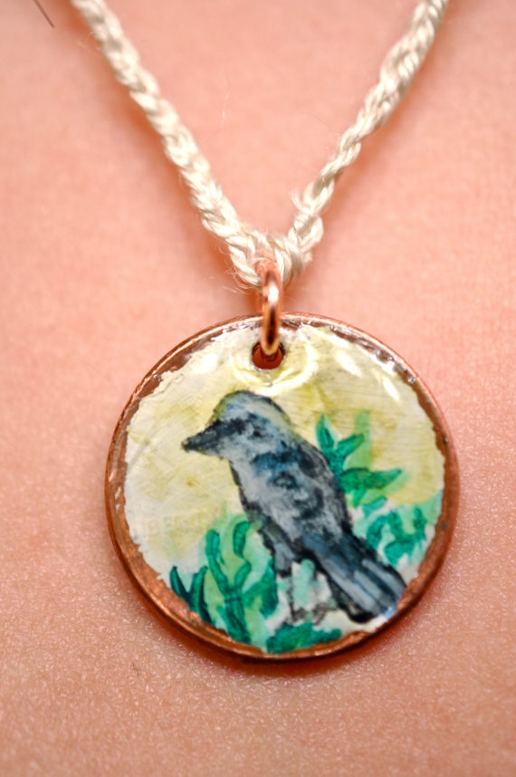 Hand Painted Penny Necklace Bluebird by LaurenxJoy on Etsy, $15.00