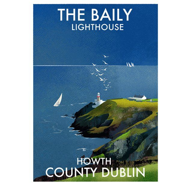 A4 or A3 print of the Baily Lighthouse on Howth Headat the entrance to Dublin Bay Printed 250g/m² art print paper Artist: Roger O'Reilly
