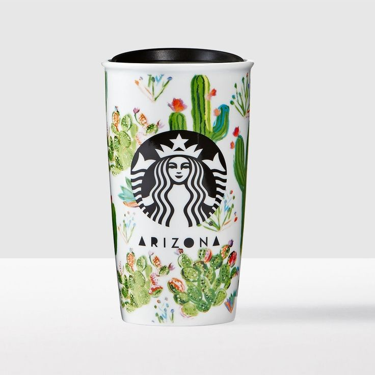 Arizona Double Wall Traveler. A double-walled ceramic travel mug featuring the cactus-covered Arizona landscape.