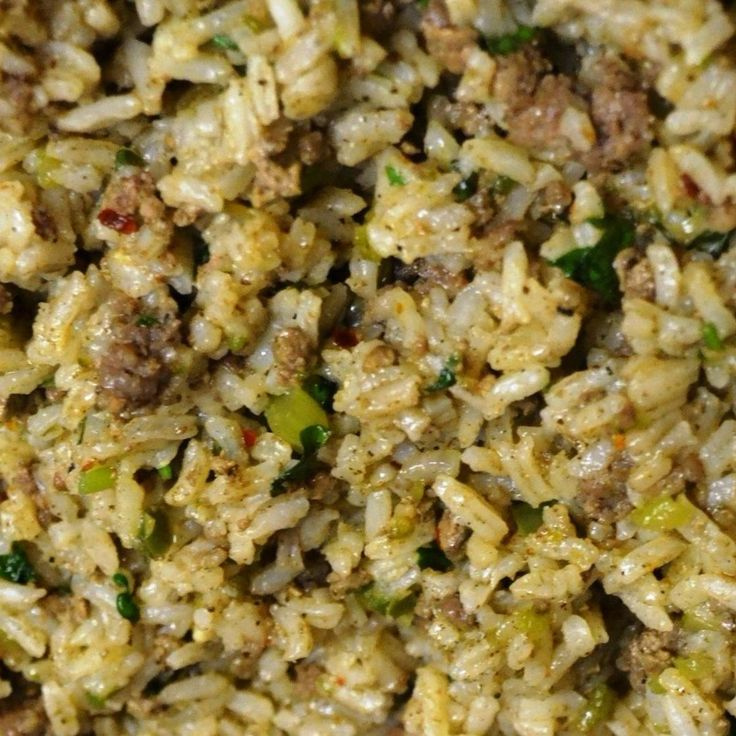 "Cajun rice or ""dirty rice"" is a well loved New Orleans dish and a Louisiana classic, with as many different recipes as there are cooks.  Traditional Dirty Rice uses chopped chicken livers which gives it a distinctive flavor and a dark color dubbing it ""dirty"" rice. It typically includes the trinity with da' Pope, which is diced bell pepper, celery, onion, and garlic. This is my favorite version."