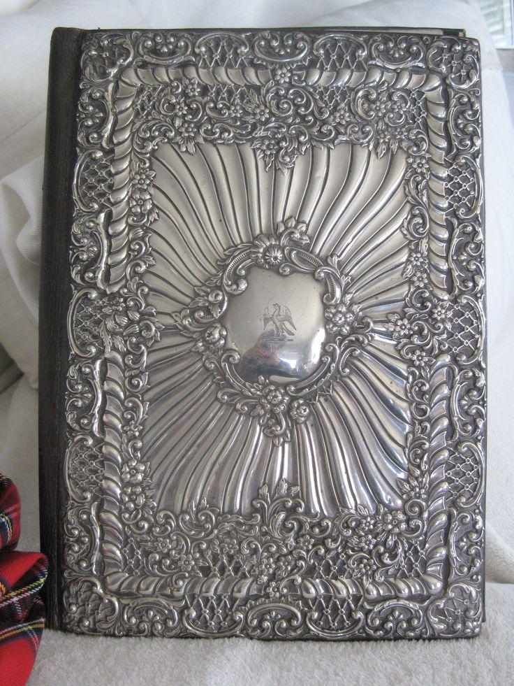 Stunning...Antique English Silver Repousse Desk 'Blotter' 12ins x 8 3/4ins