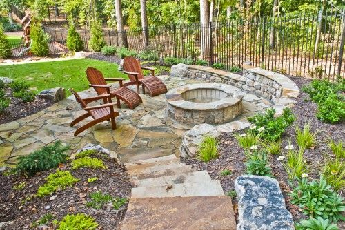 Patio for fire pit stone wall for seating pretty path for Flower fire pit