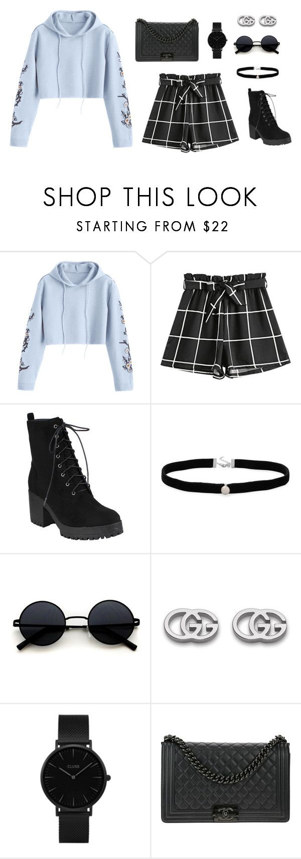 """Untitled #1202"" by mkk-18 ❤ liked on Polyvore featuring Amanda Rose Collection, Gucci, CLUSE and Chanel"