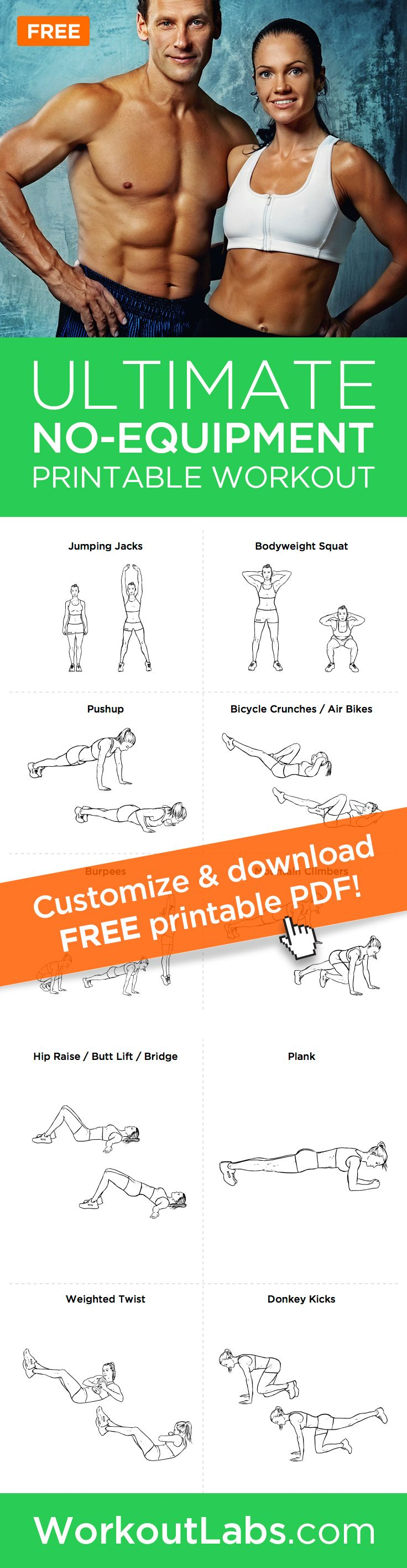 Ultimate At-Home No Equipment Workout Plan for Men and Women – Need a good full-body home-based workout that doesnt require gym equipment? Try this intense two-page bodyweight workout that you can do anywhere!
