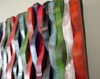 Multi-Colored Wooden Wall Sculpture with por TheInspiredDragonfly