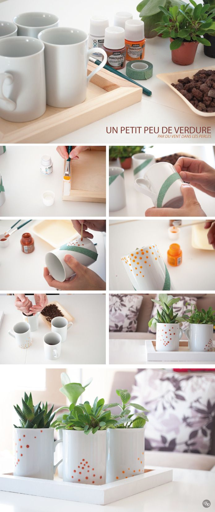 Tuto centre de table plantes vertes, tasses en porcelaine peintes et plateau en bois peint en blanc - diy foliage plants, china mugs painted and wood tray