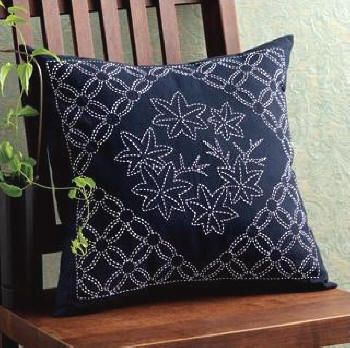 Maple leaf sashiko pillow Again, a break in the pattern for a stand alone motif