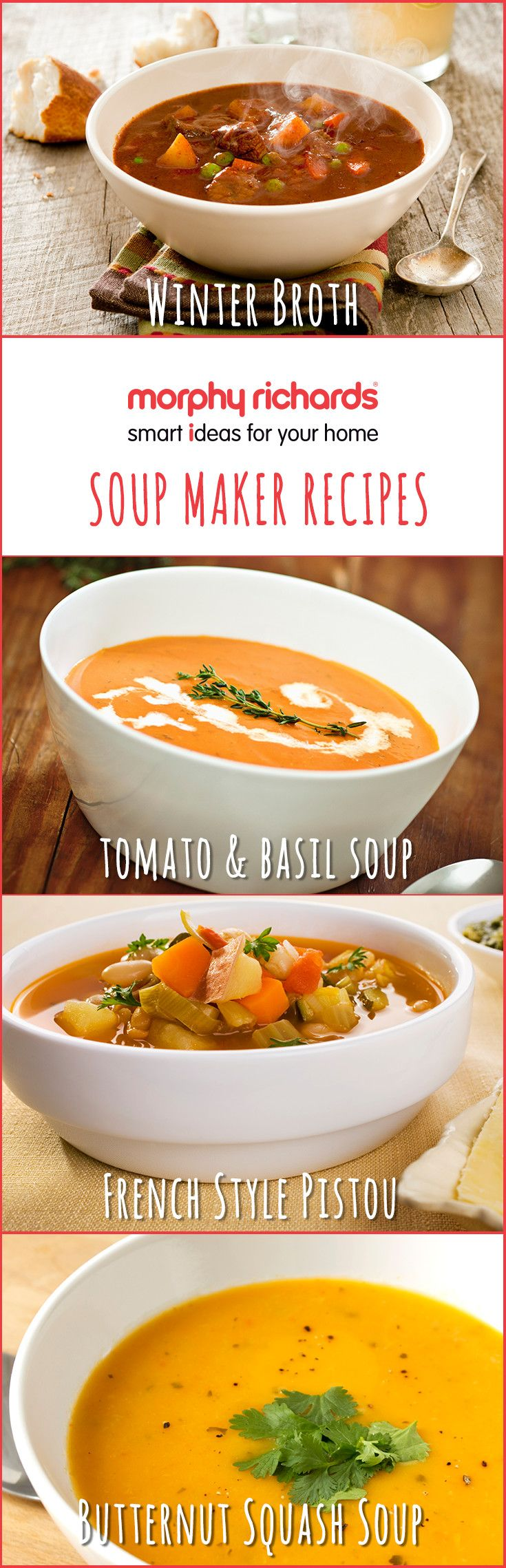 Get soup-spiration for your next batch using the Morphy Richards Soup Maker with these tasty winter soup recipes. Download the Cook & Create App to get all the instructions.