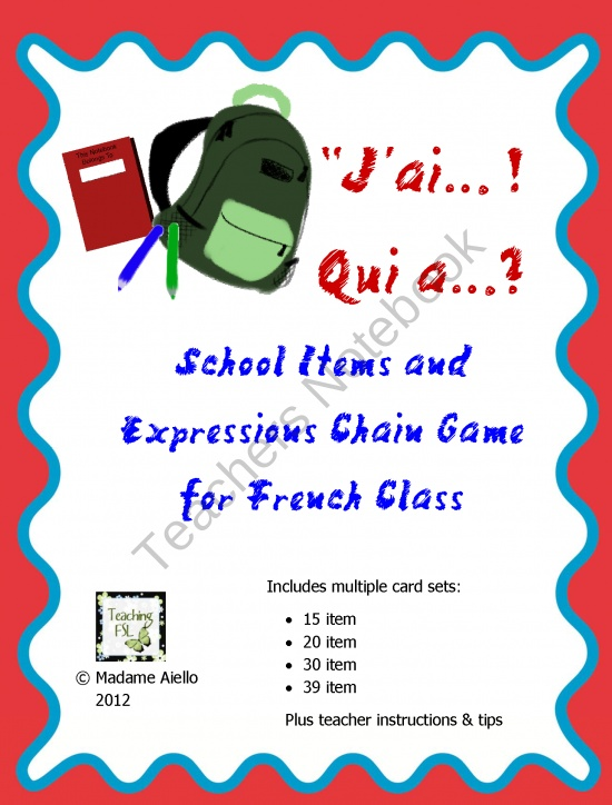 J'ai Qui A Chain Game - French School Items & Expressions product from French-Teacher-Resources on TeachersNotebook.com