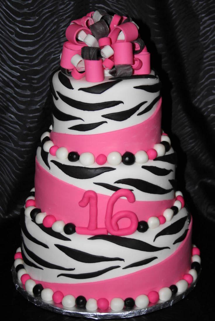 zebra cakePink Zebra, Sweets 16, 16Th Birthday, Cake Ideas, 16 Cake, Zebras Cake, Zebra Cakes, 1St Birthday Cake, Birthday Cakes