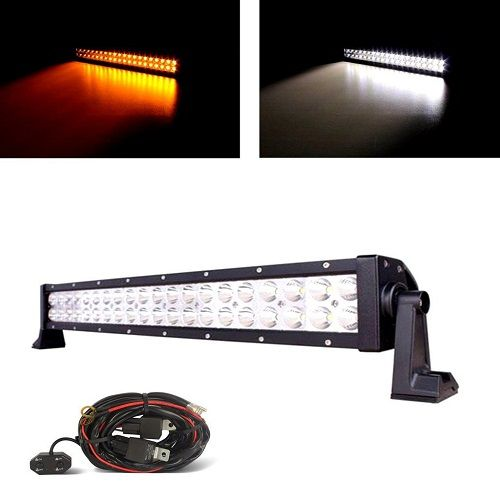 """MICTUNING 21.5"""" 120W Combo Amber White LED Work Light Bar for Offroad 4x4 ATV SUV + Customized Wiring Harness,50 led light bar, cree led light bar, led warning lights, led bar lights, led emergency lights, led strobe lights, 20 inch led light bar, atv led light bar, truck led light bar,mmotorcycle led lights, light bar led, light bars for trucks, led dash lights, led offroad lights, led trailer lights, led offroad light bar, led lights for cars, emergency led lights, car led lights,"""