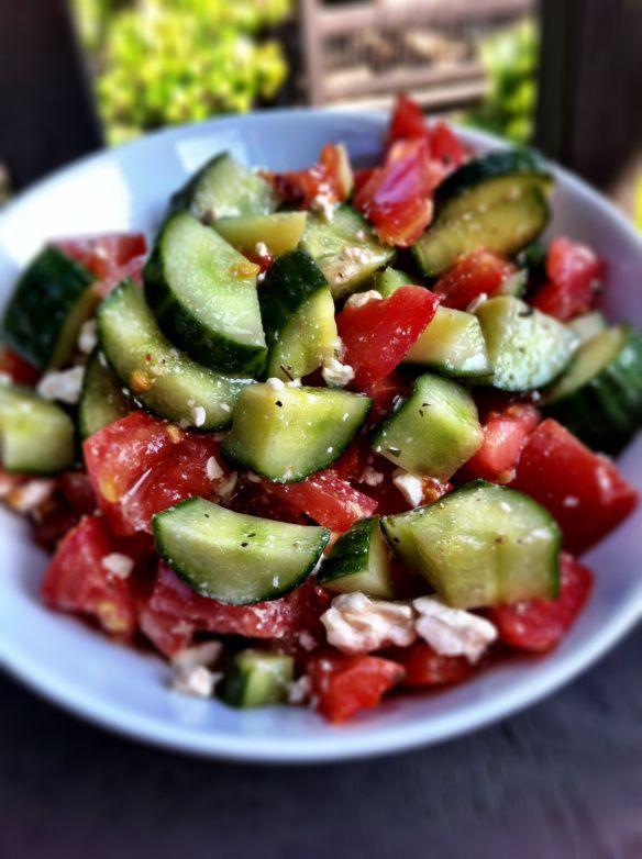 Cucumber, tomato, feta salad