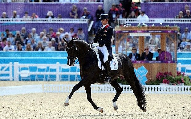 Carl Hester riding Uthopia, Great Britain Dressage Team members competing in the London 2012 Summer Games.