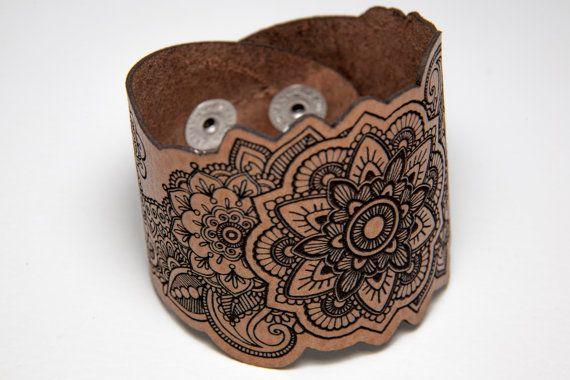 Mandala leather bracelet. Laser cut mandala bracelet. Laser engraved mandala leather cuff