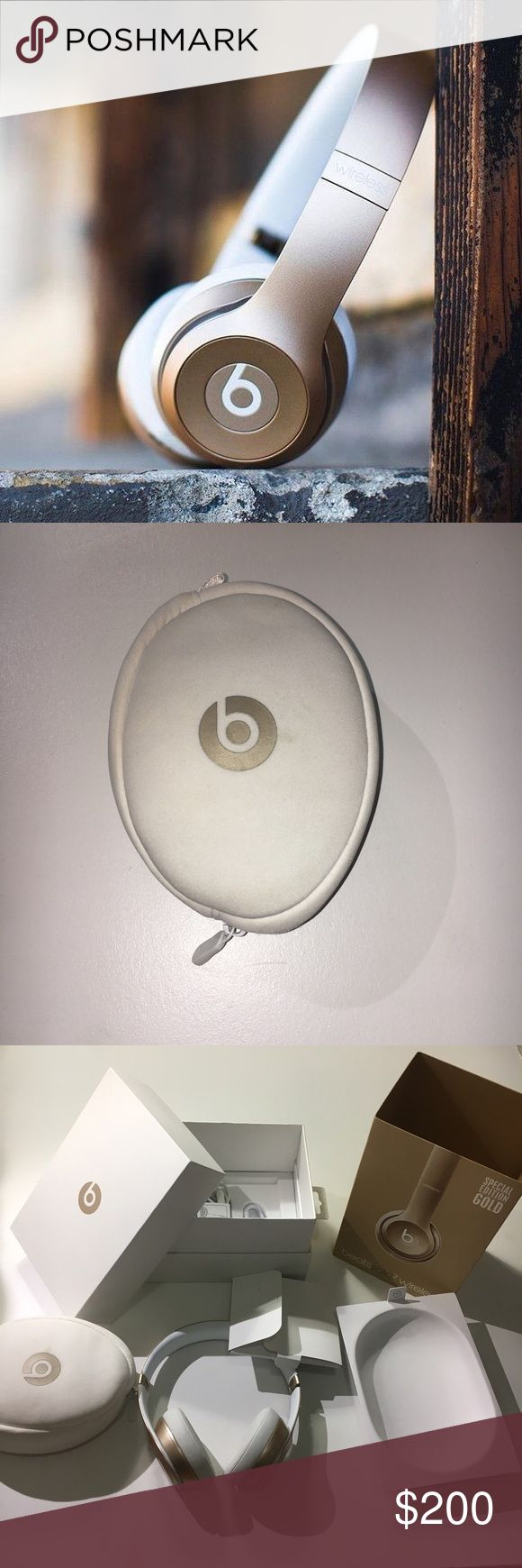 ✨SPECIAL EDITION GOLD ✨ beats wireless headphones Beats solo 2 wireless special edition ! Used and there are some signs of wear .every piece of the is included! Same as bought ! It works and sounds perfectly ! Pls ask if you have any questions ! Brandy Melville Other