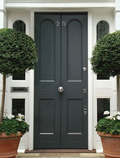 Dark grey edwardian front door exterior house colors for Black wooden front door