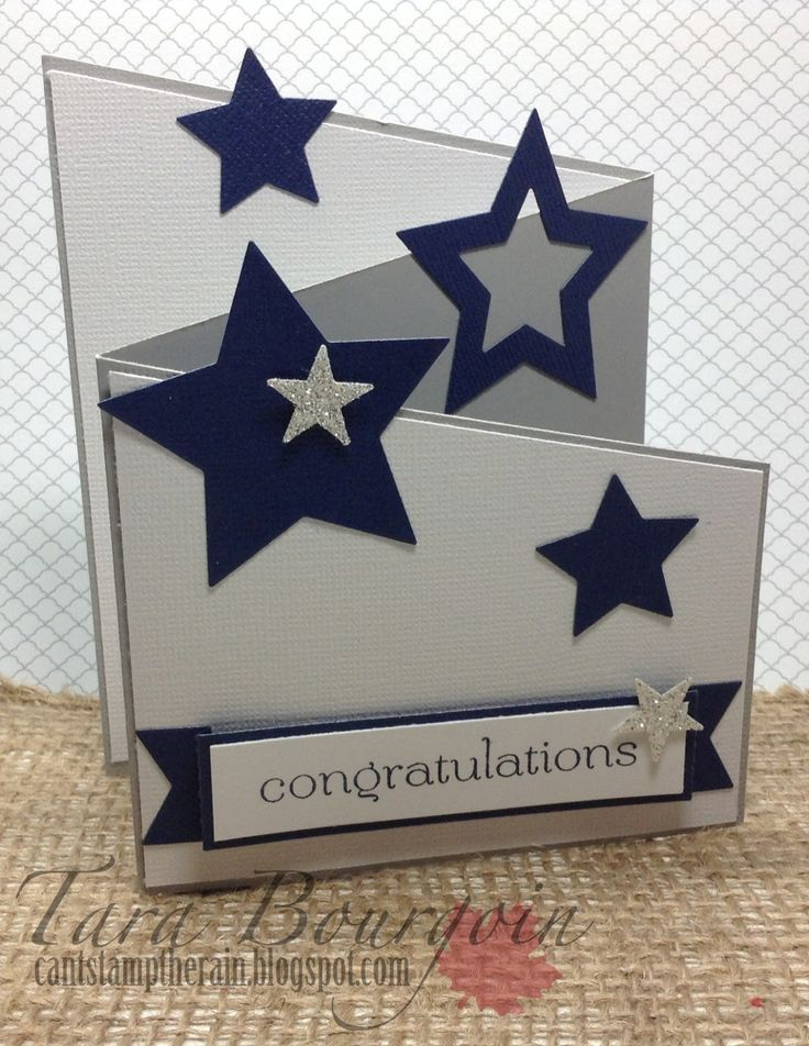 hand crafted card: Colour Me...!: CMCC#57 - Colour Me... Monochromatic! ... stars ... fun fold design ..