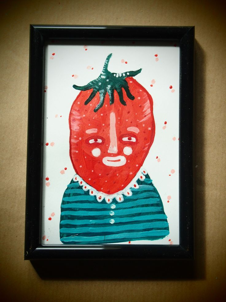 """Señor Fresa"" Acrylic on paper. 10x15cmts"