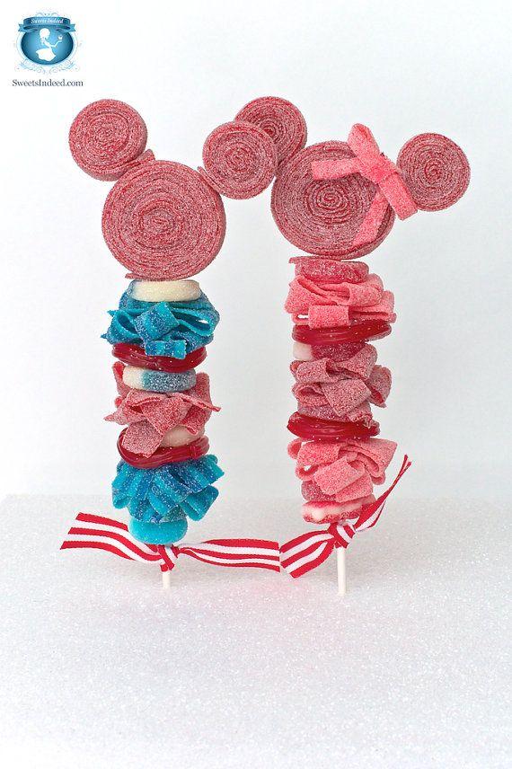 8 Mickey y Minnie Mouse inspiran en brochetas de dulces