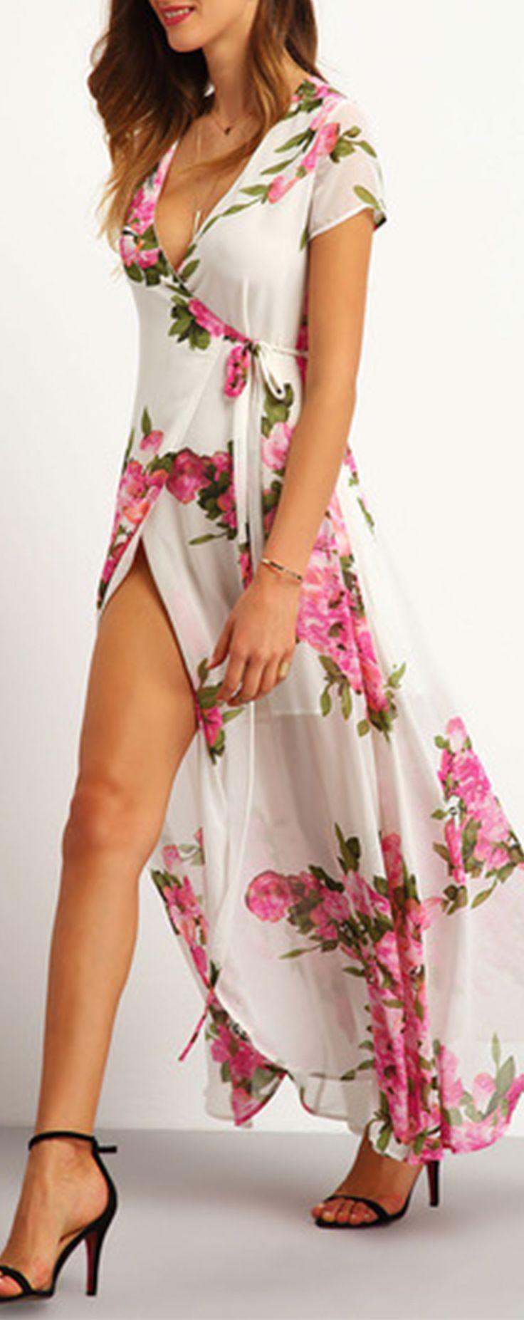 White Floral Print Wrap Maxi Dress