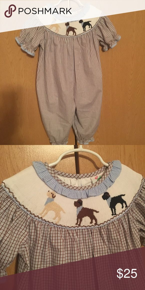 Shrimp and grits smocked Labrador outfit Blue and brown plaid one piece with smocked Labradors. shrimp and grits kids  Other