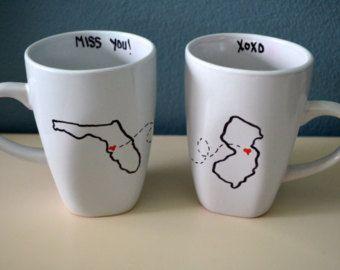 State Friend Mugs – Set, Two States – Family Friendship Going Away Housewarming Friend Moving Neighbor Teacher Boyfriend Girlfriend Gift