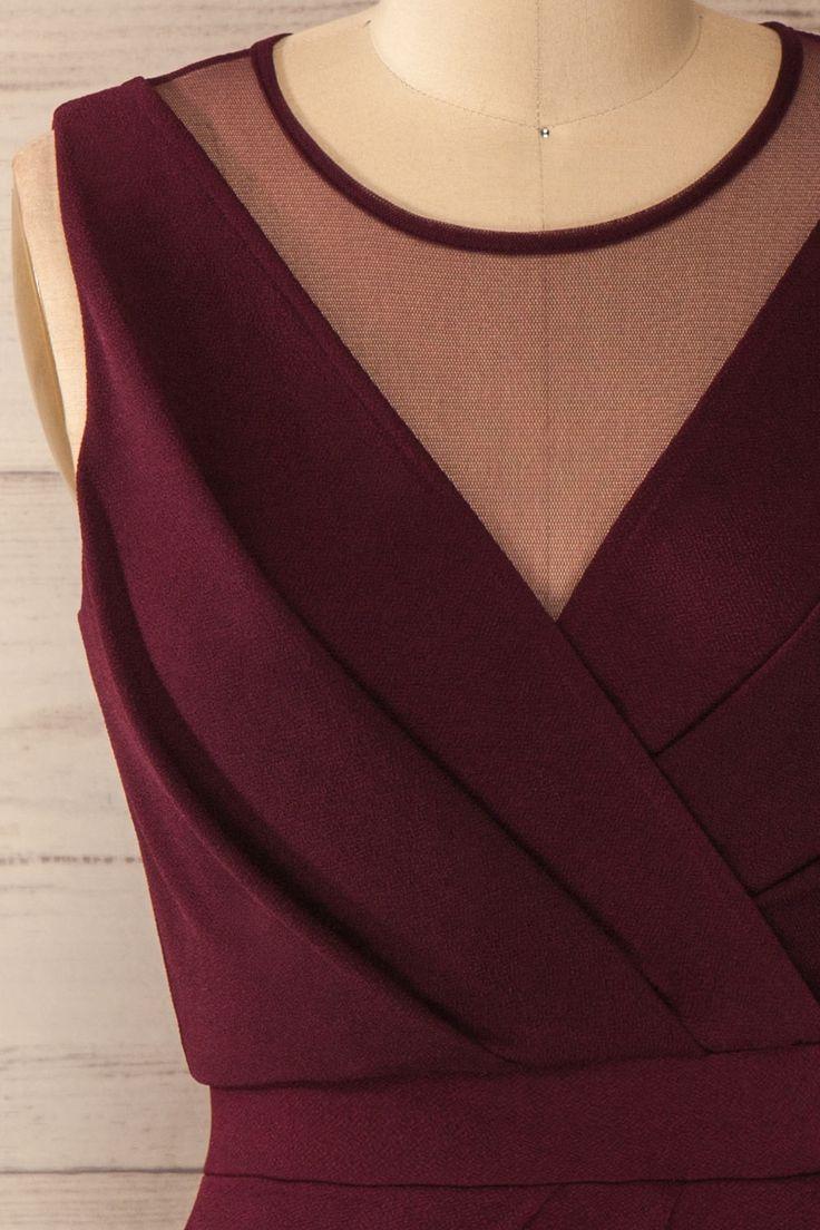 Robe pourpre cache-coeur découpes filet - Violet mesh cut-outs wrap dress