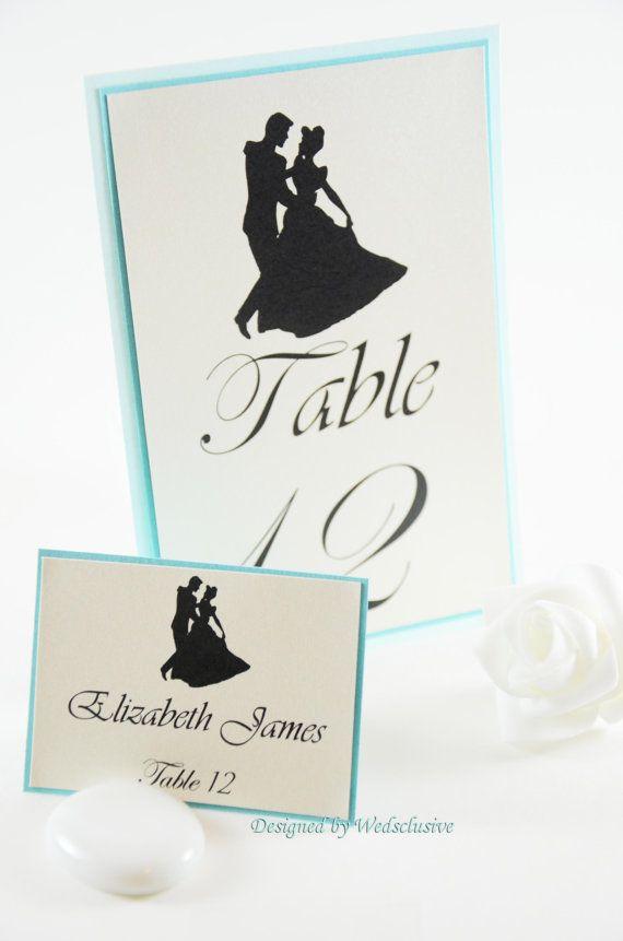 ♥ Cinderella Table Numbers, Disney theme weddings, Fairy tale Weddings , Princess Weddings, 4x6 - Set of 10 ♥  Having a Cinderella theme wedding?