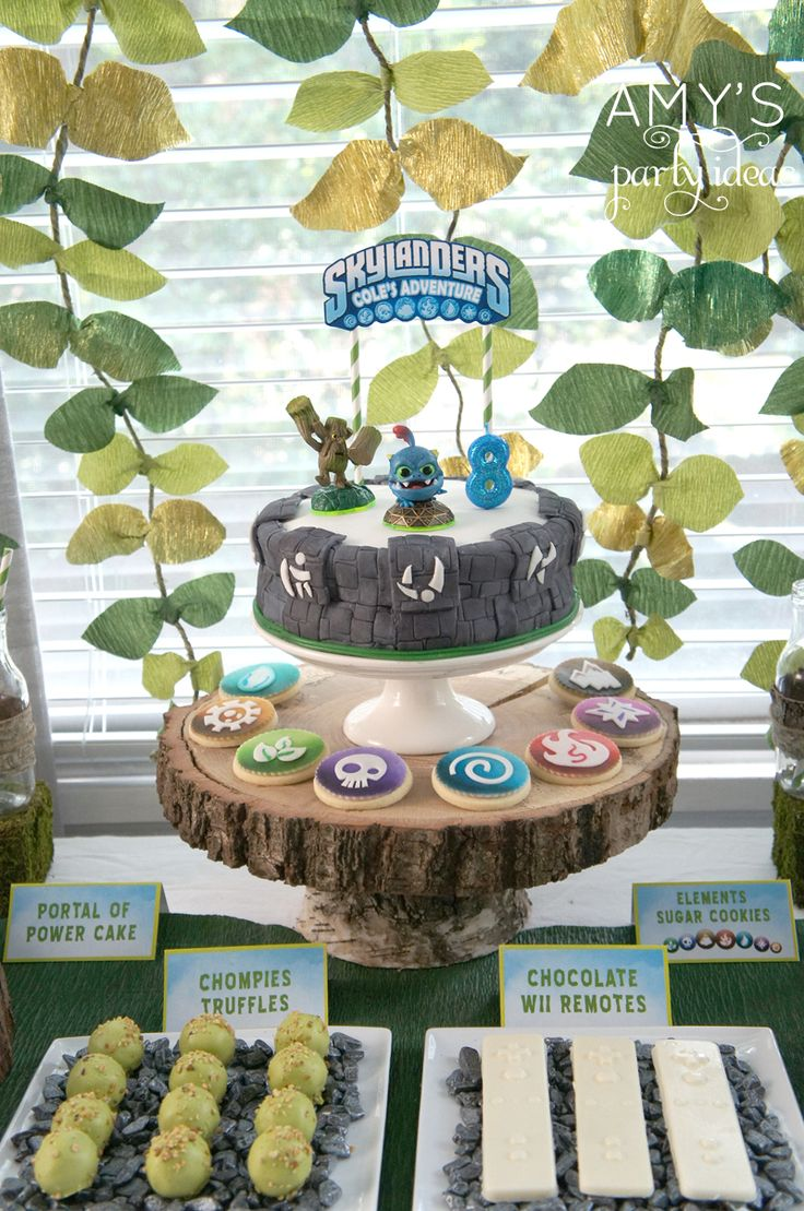skylanders birthday party cake ideas, Skylanders Giants Birthday Party Ideas & Games | @Amy Lyons Lyons's Party Ideas #SkylandersGiants #party #DIY #Skylander #Birthday #dessert table #supplies