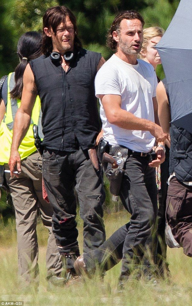 The boys are back! Dressed casual while accessorising with his weapons, Andrew was seen walking withNorman Reeds, who playsDaryl Dixon in the AMC horror drama