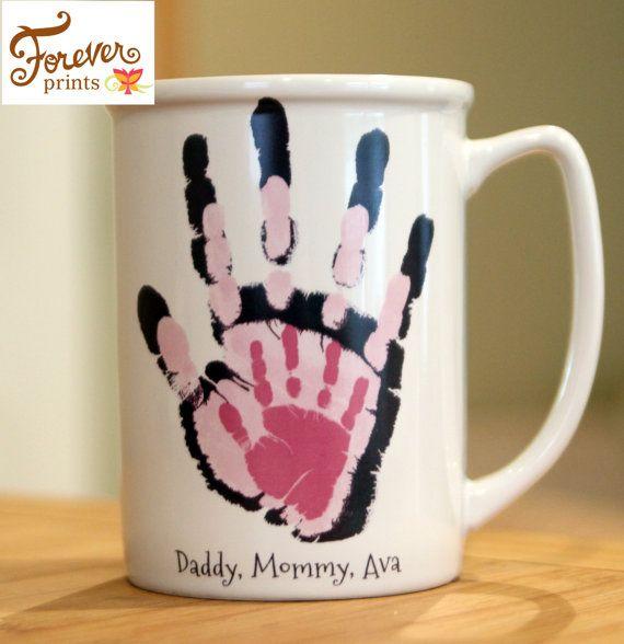 Your families actual prints! Personalized how you want, Mug for christmas gift, handprint art keepsake, Helicopter Mug baby christmas