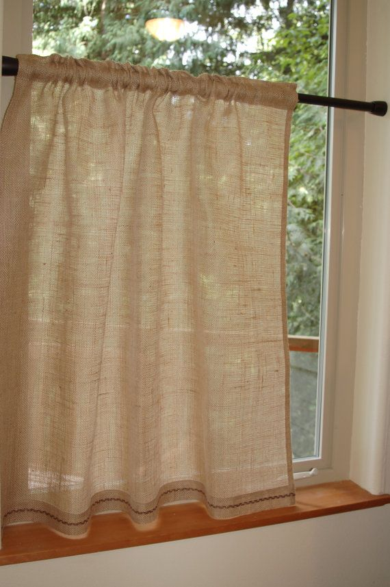 Lovely, rustic chic Burlap cafe curtain panel in natural ... | 570 x 857 jpeg 78kB