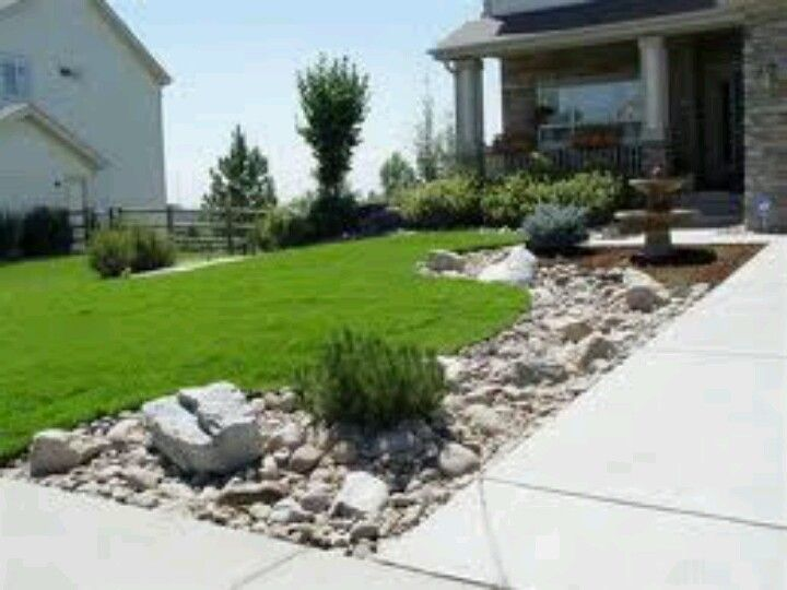 Love landscaping along driveway anything outside for Front yard lawn ideas