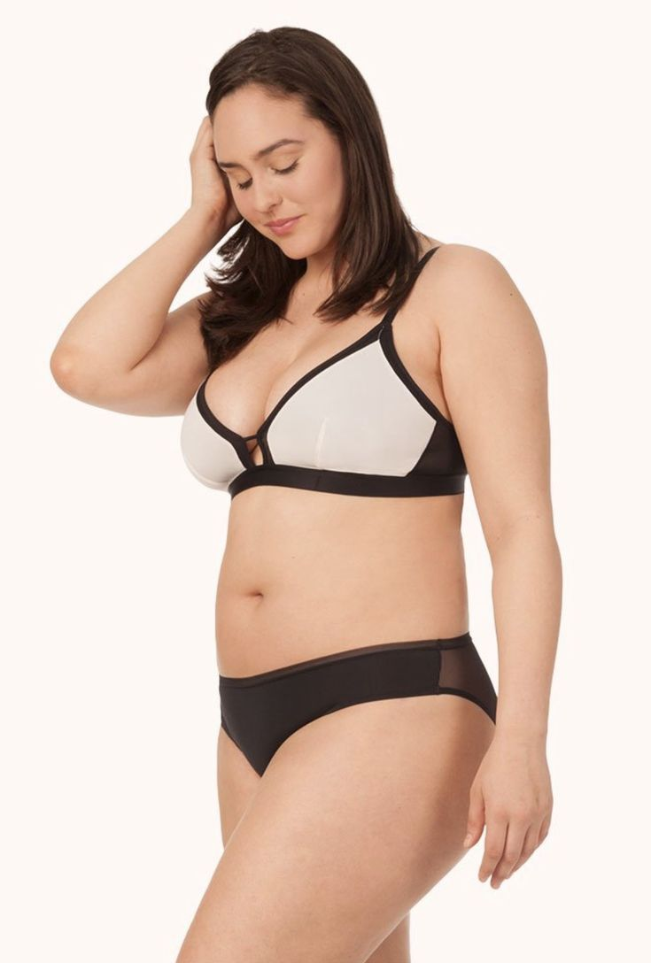 b9d51ca1ddf3b LIVELY - The Busty Bralette - Colorblock: Soft Pink/Black - $35 | Our big  bust babes/ DD and DDD cup crew, this one's for you! This supportive  bralette ...
