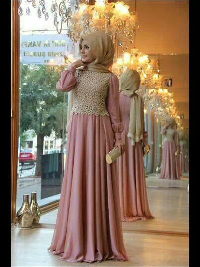 Hijab fashion_pink dress