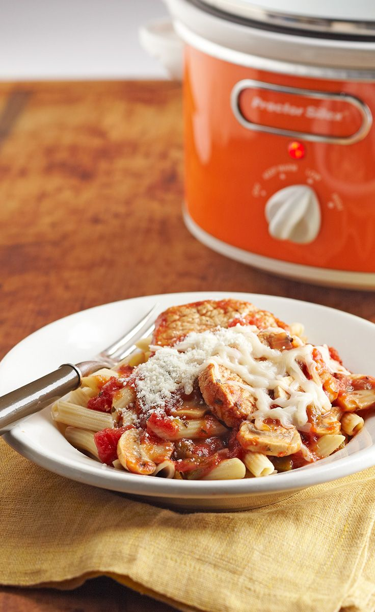 Slow-Cooker Pork Cacciatore — Come home to the tempting aroma of pork tenderloin made cacciatore-style. It's weeknight simple, thanks to this oh-so-convenient slow-cooker recipe.